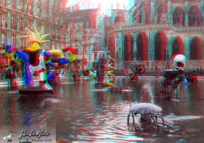Stravinsky Fountain 3D Stravinsky Fountain, Centre Georges Pompidou, Paris, France, Paris 2010,travel, photography,favorites,anaglyph 3D