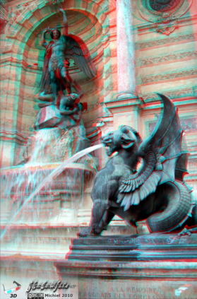 Saint Michel statue 3D Saint Michel statue, Paris, France, Paris 2010,travel, photography,favorites,anaglyph 3D
