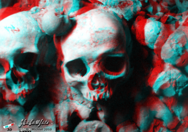 Catacombes 3D Catacombes, Paris, France, Paris 2010,travel, photography,favorites,anaglyph 3D