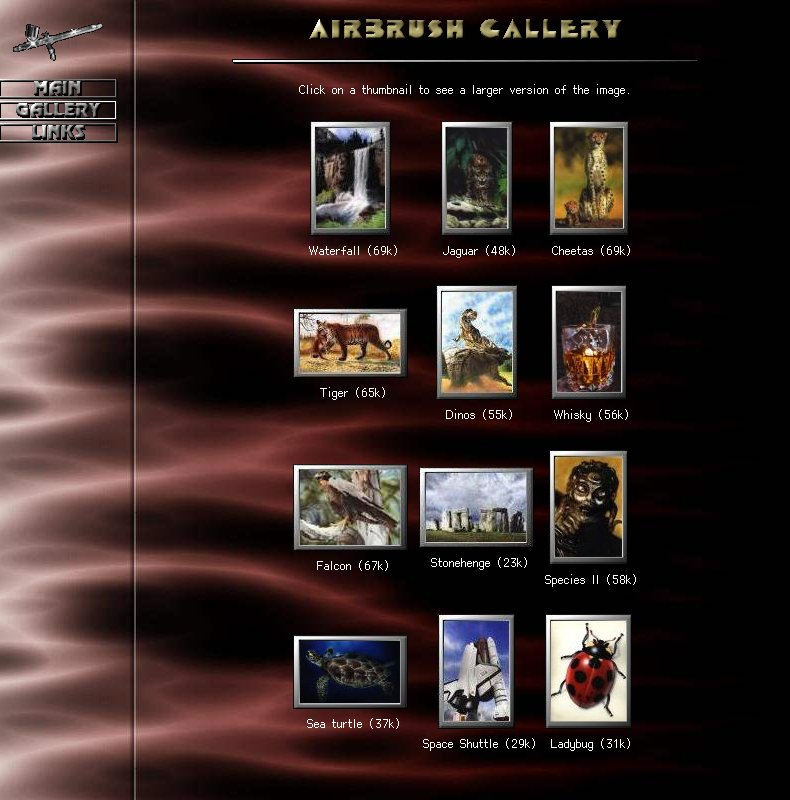 Shadowfire Airbrush Gallery websites, Shadowfire, html